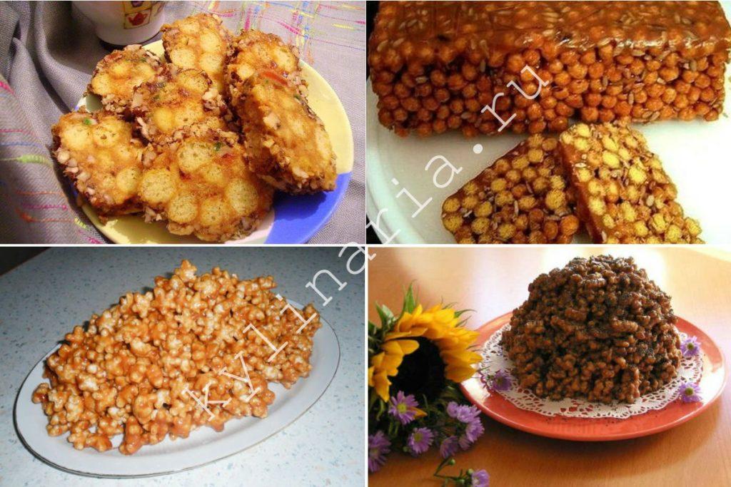 Десерт из кукурузных палочек со сгущёнкой