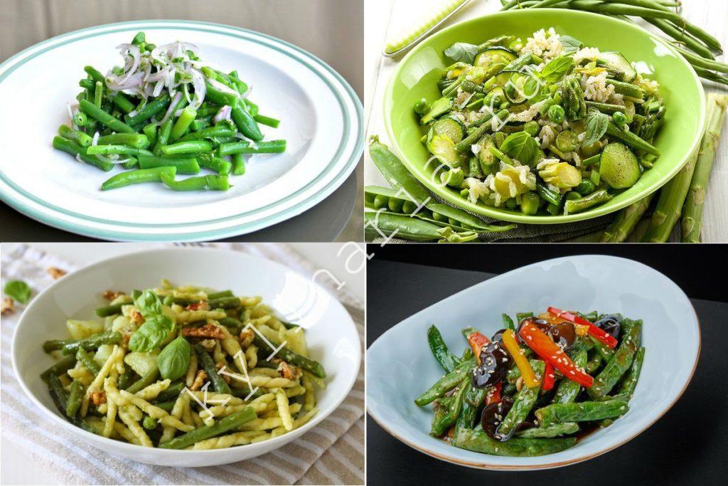 Салат из стручковой фасоли, кабачка и бобов