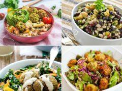 Салат с фасолью и фалафелем