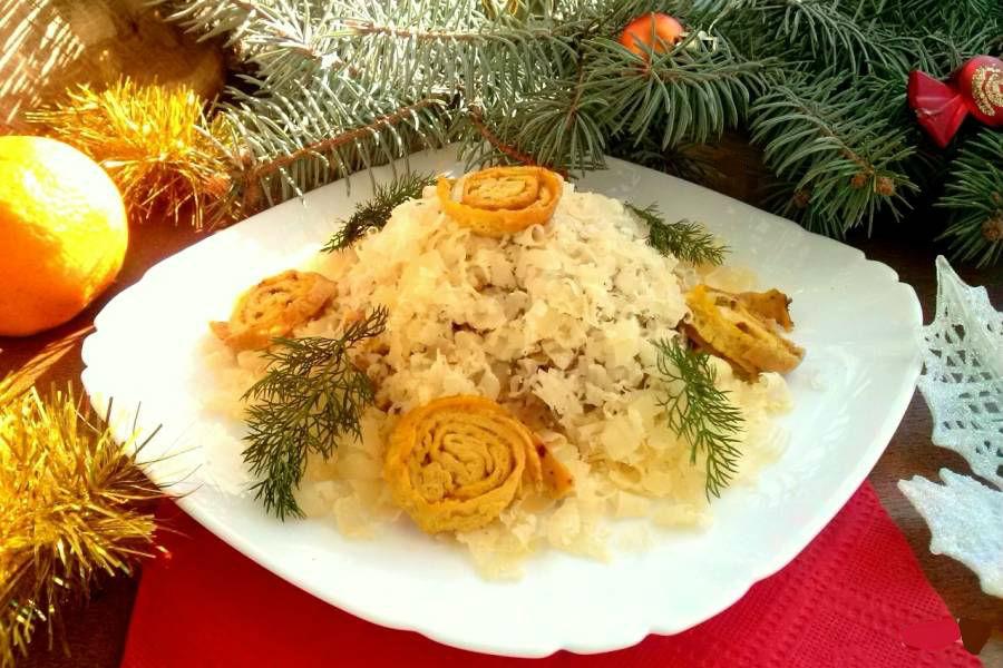 Салат новогодний - Улитки на снегу
