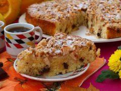 Популярный тыквенный пирог с орехами для семейного чаепития