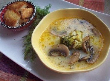 Сырный суп (с шампиньонами и брокколи